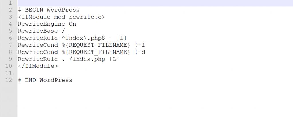 .htaccess screenshot